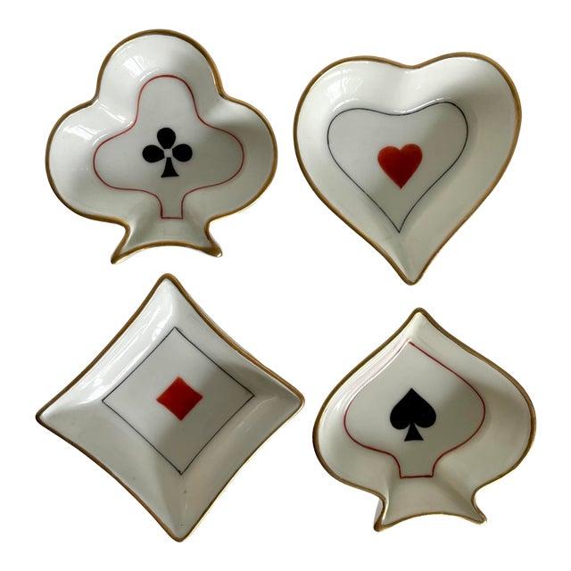Limoges France Set of 4 Bridge Poker Suit Ashtrays For Sale
