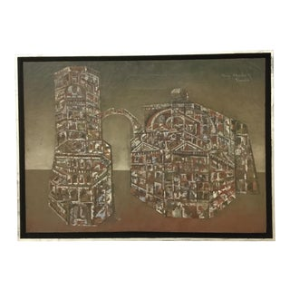 """1950s Vintage """"Venezia"""" Abstract Oil Painting on Canvas by Olivier Charles For Sale"""