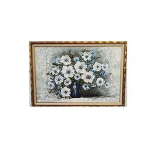 Signed & Framed Vintage Floral Oil Painting by Franco Rispoli For Sale