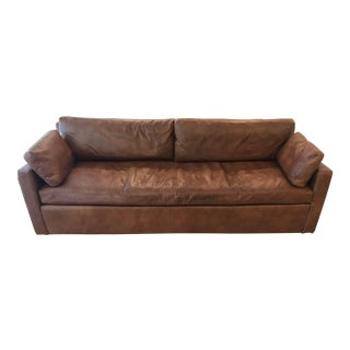 Restoration Hardware Belgian Track Arm Leather Sofa For Sale