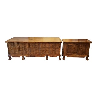 Custom Tiger Wood Executive Desk & Side Cabinet For Sale