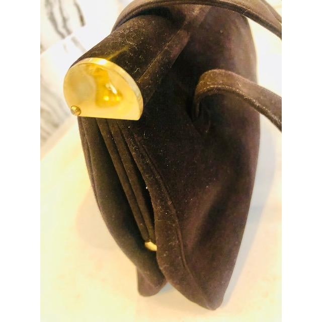 1940s 1940s Koret Chocolate Calfskin Suede Purse For Sale - Image 5 of 13