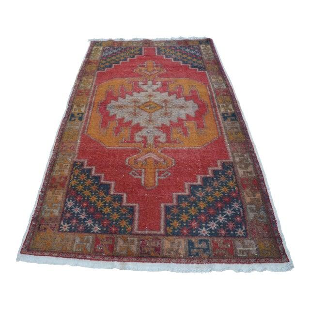 Turkish Bohemian Handwoven Carpet - 4′4″ × 8′5″ For Sale