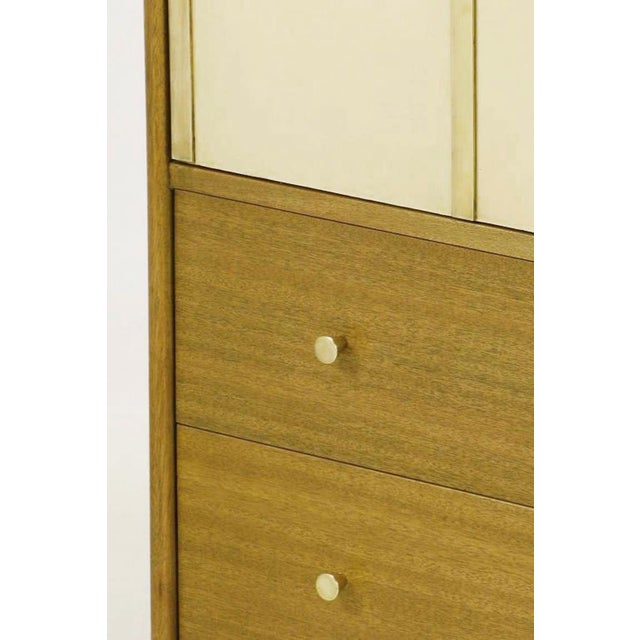 Harvey Probber Bleached Mahogany & Ivory Leather Tall Cabinet For Sale In Chicago - Image 6 of 12