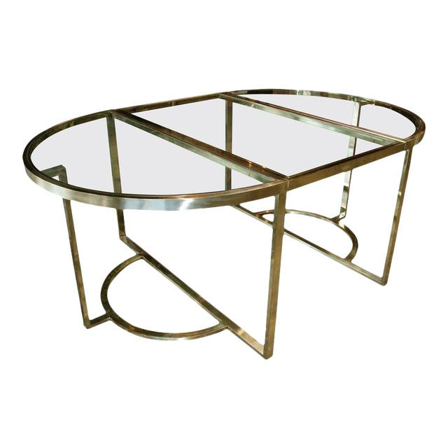 1970 Romeo Rega Brass Oval or Round Dining Table For Sale