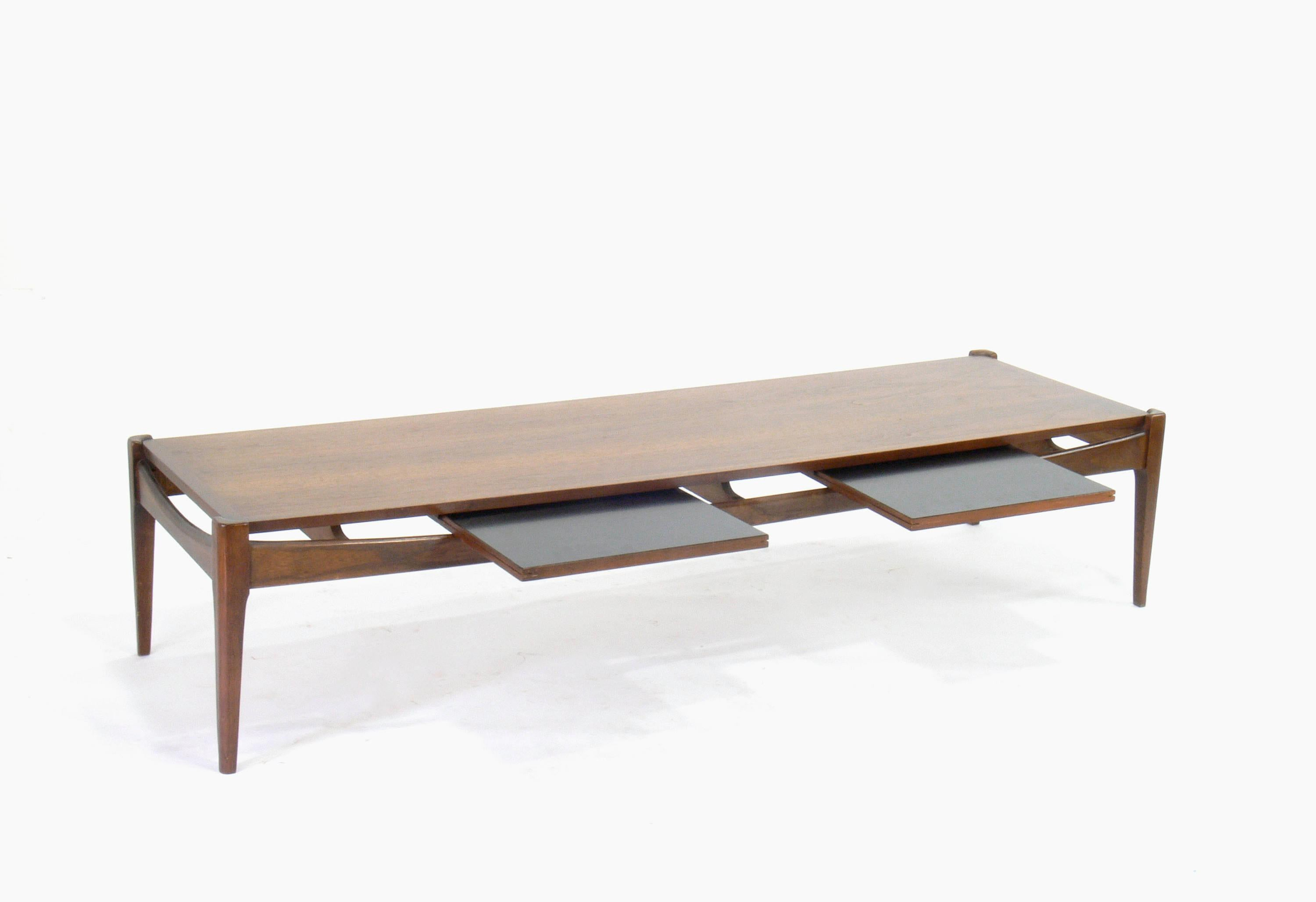 Mid Century Modern Bassett Surfboard Coffee Table With Sliding Tray Tables    Image 3 Of