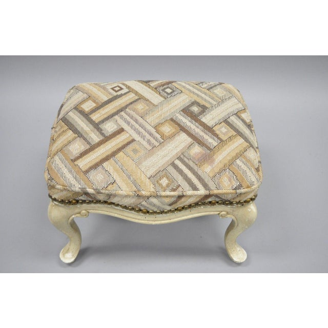 Petite French Provincial Louis XV Style Cream Painted Ottoman Small Footstool For Sale In Philadelphia - Image 6 of 12