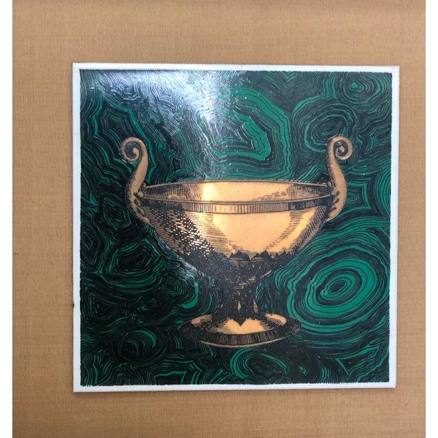 Fornasetti Vintage Fornasetti Italian Framed Malachite Tiles - Set of 4 For Sale - Image 4 of 13