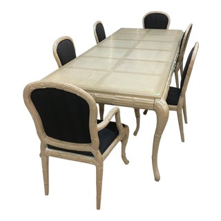 Washed Wood Dining Table & Chairs - Set of 7