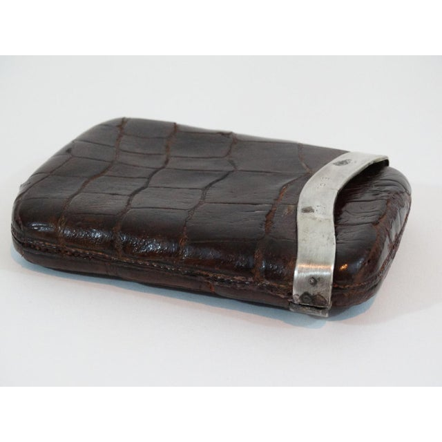 English Traditional 1886 Sterling Silver Crocodile Skin Cigar Case For Sale - Image 3 of 5