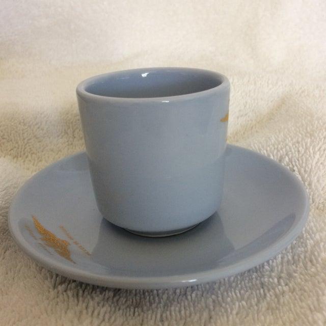 "Mediterranean Very Rare Vintage Set of Vista Alegre Impact Baby Blue Portuguese ""Forca Aerea Messe De Oficiais"" Demitasse Cups & Saucers -Set of 10 For Sale - Image 3 of 13"