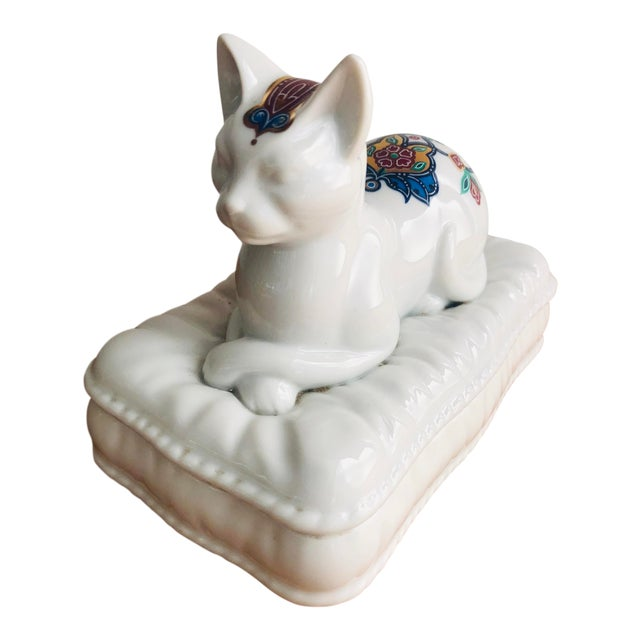 Vintage Porcelain Cat Jewelry Box Trinket Catch All For Sale
