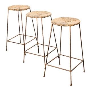 Modernist Iron and Rush Bar Stools For Sale