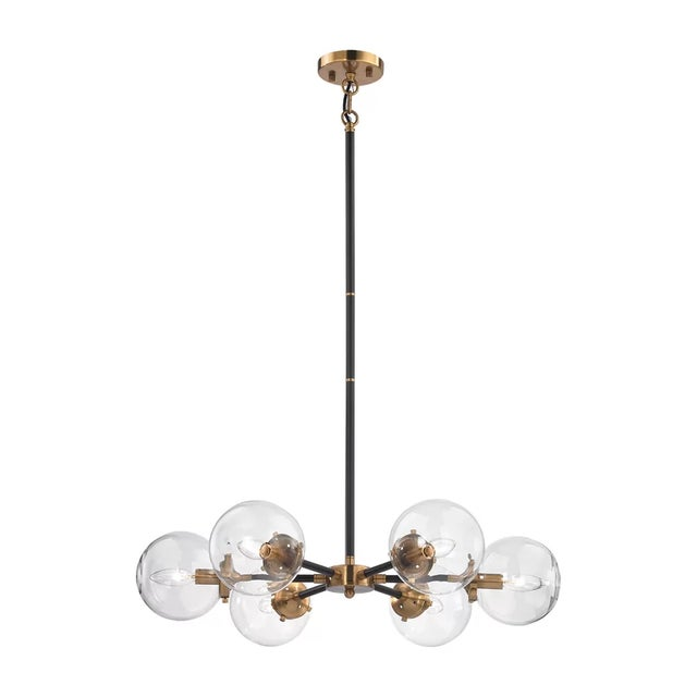 Mid-Century Modern 6 Light Glass Orb Chandelier For Sale - Image 3 of 7