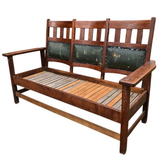 Antique Stickley Quaint Roycroft Era Arts & Crafts Mission Oak Bench Settee For Sale