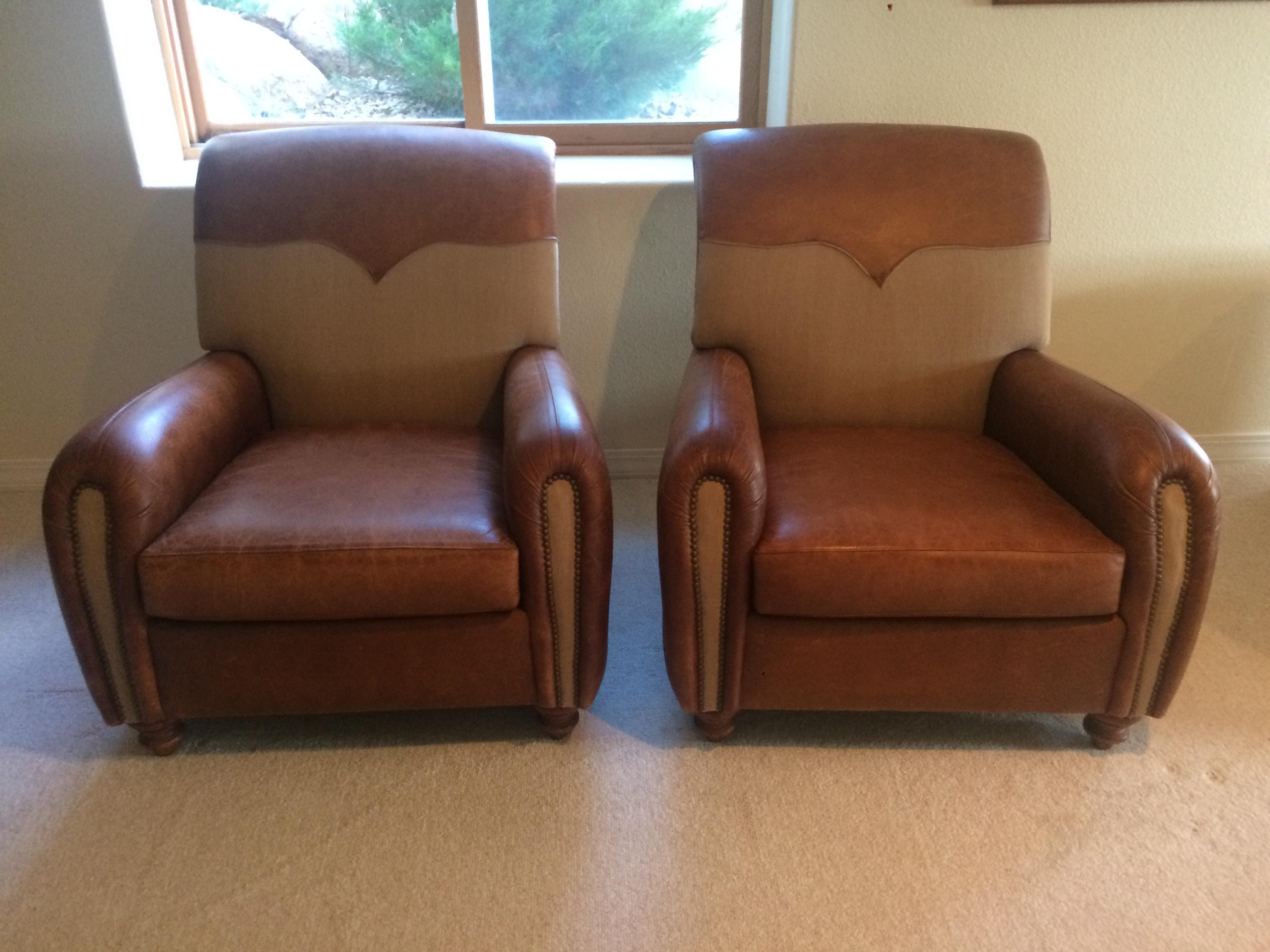 Henredon Leather Chairs   A Pair   Image 2 Of 6