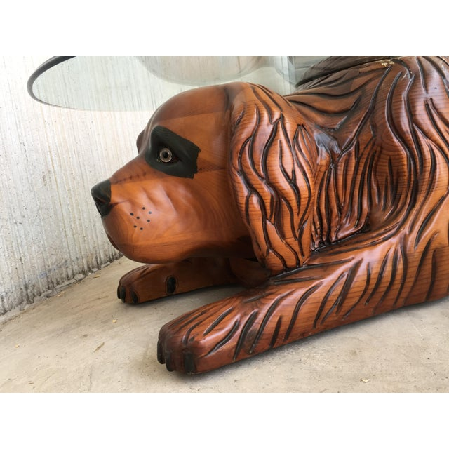 20th Century Country Carved Table Featured a Lifesize Dog With Cristal Top For Sale - Image 10 of 12