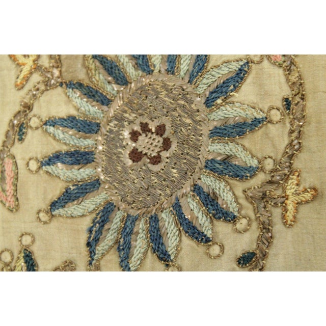 Antique Silk Scarf Metallic Embroidered Ottoman Runner Textile For Sale - Image 4 of 9