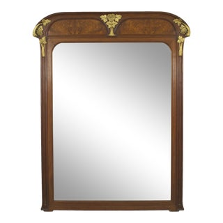 French Art Nouveau Walnut Beveled Glass Wall Mirror For Sale
