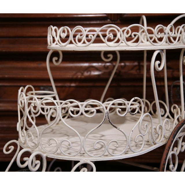 Early 20th Century French Painted Iron Two-Tier Bar Cart on Wheels for Patio - Image 7 of 8