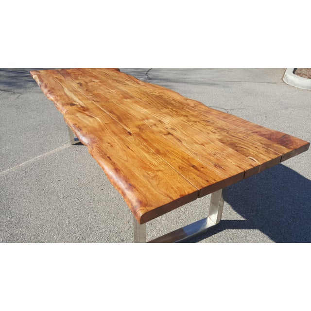 Live Edge Acacia Wood Plank Table - Image 6 of 7
