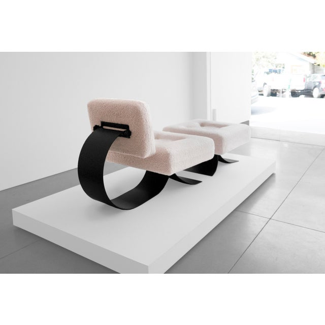 """Memphis Oscar Niemeyer Attrib. Re-Issued Prototype """"Alta"""" Chair and Ottoman For Sale - Image 3 of 6"""