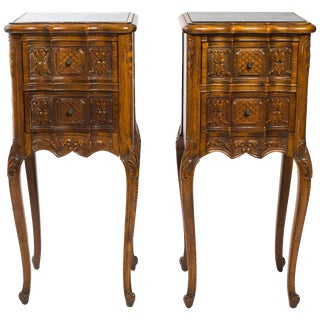 Pair of 1940s Diminutive French Carved Wood / Marble Top Side Tables For Sale