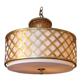 Late 20th Century Silk & Brass Drum Light For Sale