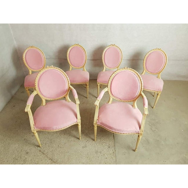 Set of 6 Antique French Louis XVI Restored in Pink Dining Chairs 2 Armchairs 4 Side Chairs For Sale - Image 13 of 13
