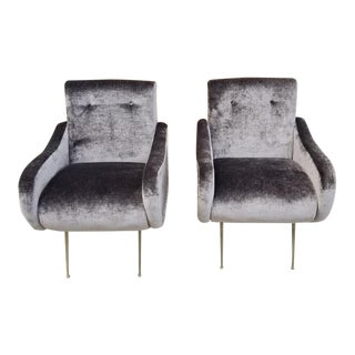 Mid Century Modern Italian Marco Zanuso Style Lady Chairs Newly Upholstered - Pair For Sale