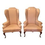 Image of 1970s Vintage Philadelphia Handmade Queen Anne High Back Chairs- A Pair For Sale