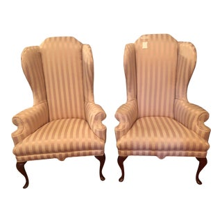 1970s Vintage Philadelphia Handmade Queen Anne High Back Chairs- A Pair For Sale