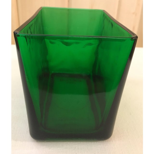 Mid-Century Emerald Green Glass Planter - Image 9 of 11