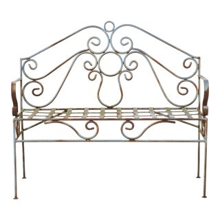 French Wrought Iron Bench For Sale