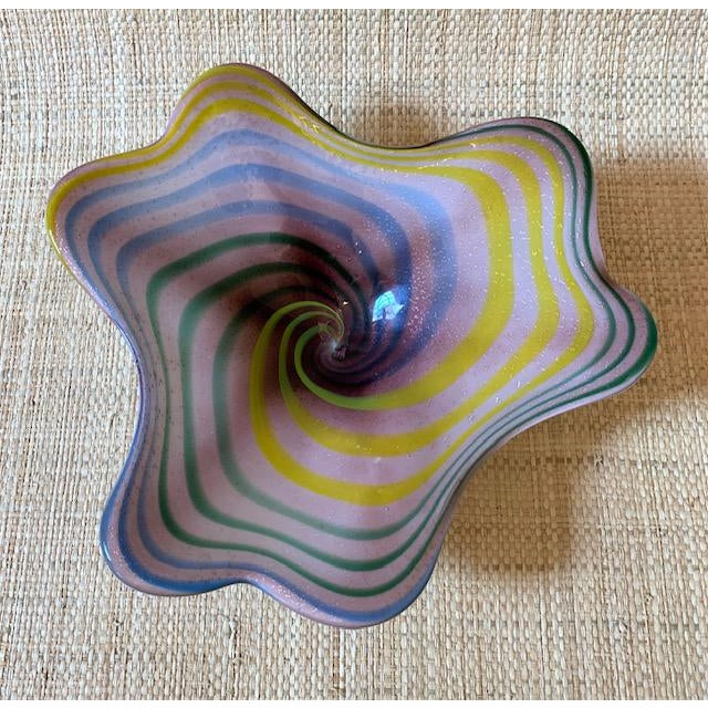 Large, candy colored, scalloped edge bowl. Handblown glass from Italy. Gorgeous on a coffee table!