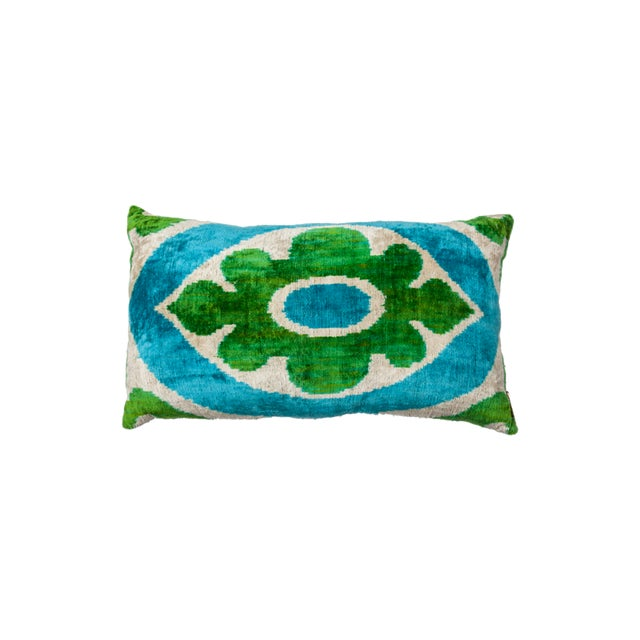 Asian Vintage Large Rectangle Flower Light Blue/Silver/Bright Green Silk Velvet Ikat Pillow For Sale - Image 3 of 3