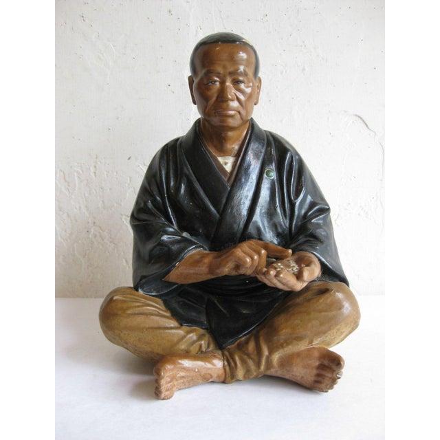 Mid Century Japanese Clay Doll Figurine Statue Rice Merchant Wabi Sabi Handmade Antique Hakata For Sale - Image 4 of 4