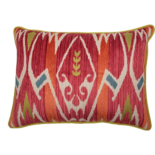 Red and Green Velvet Geometric Patterned Pillow For Sale