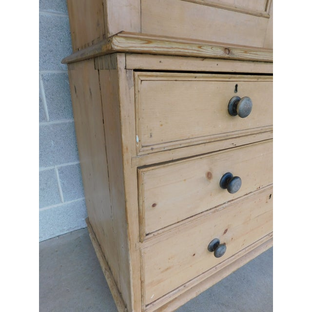 Antique English 2pc Pine Linen Press Armoire Cabinet For Sale - Image 11 of 13