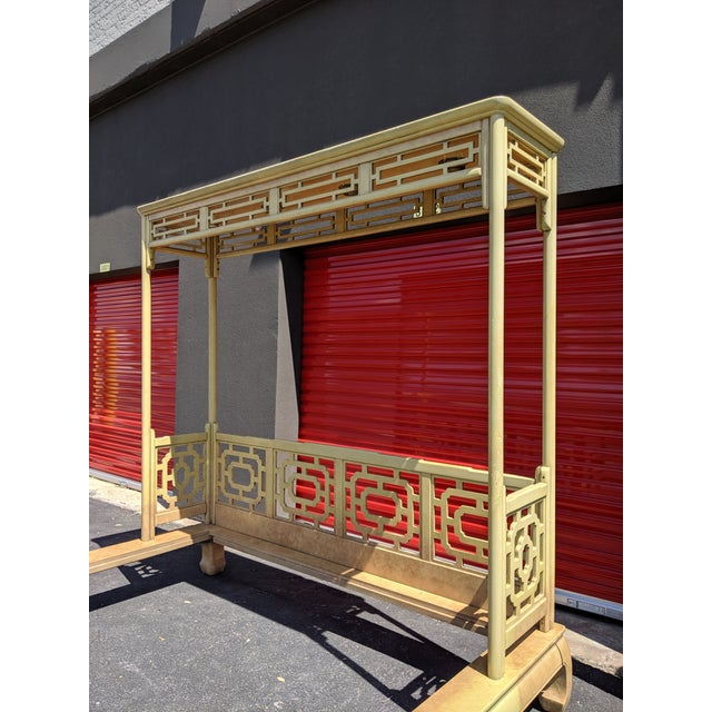 Wood Chippendale Fretwork Ming Platform Lacquered King Size Canopy Bed For Sale - Image 7 of 13