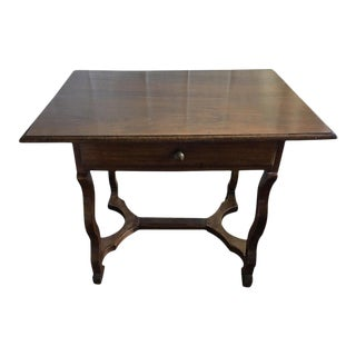 French Walnut Side Table with a Front Drawer, 19th Century For Sale
