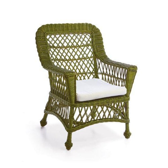 English Kenneth Ludwig Chicago Montauk Green Rattan Chair For Sale - Image 3 of 3