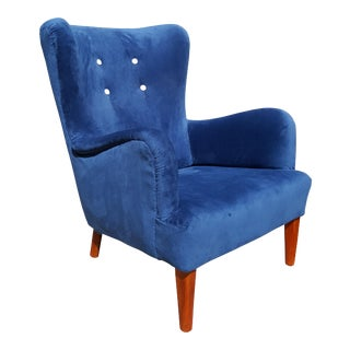 A.J. Iversen Danish 1940's Wingback Chair / Lounge Chair