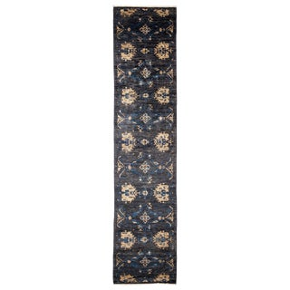 "Eclectic, Hand Knotted Black Floral Wool Runner Rug - 2' 9"" X 12' 0"" For Sale"