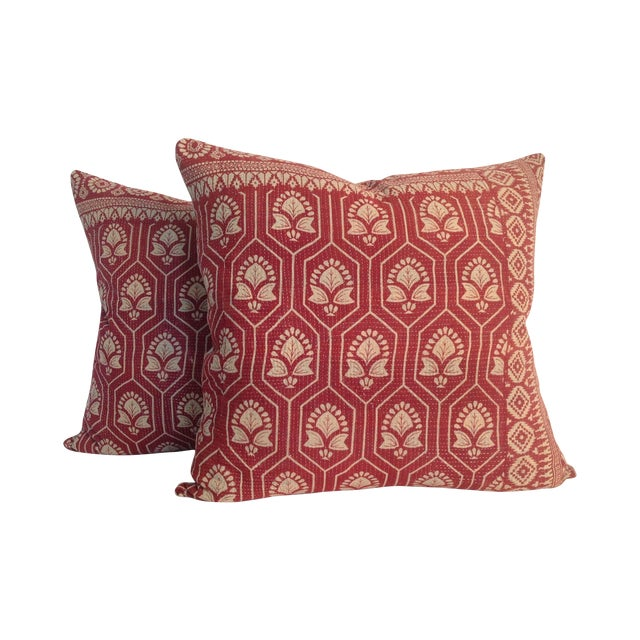 Vintage Indian Red Kantha Quilt Pillows - A Pair - Image 1 of 4