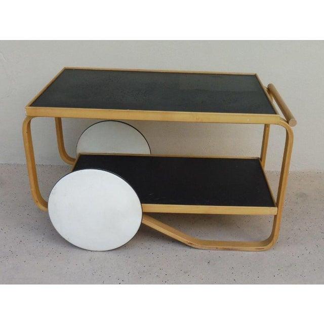 1960s 1960s Danish Modern Alvar Alto Bentwood Tea Cart For Sale - Image 5 of 6