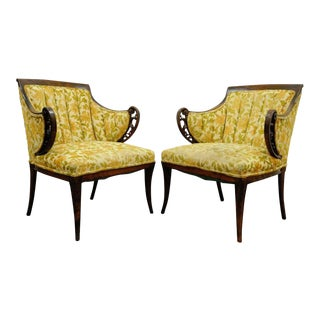 Pair of Vintage Hollywood Regency French Style Mahogany Fireside Arm Chairs