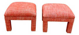 Image of Newly Made Orange Ottomans and Footstools