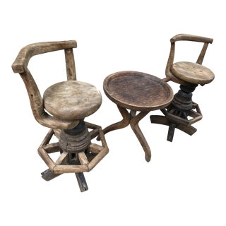 Wagon Wheel and Ox Yoke Swivel Barstools With Accent Table - Rustic Patio Table Set