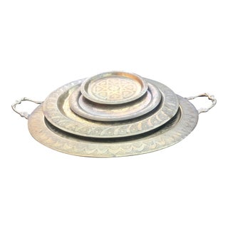 Vintage Brass Stackable Round Tray Set of 4 For Sale